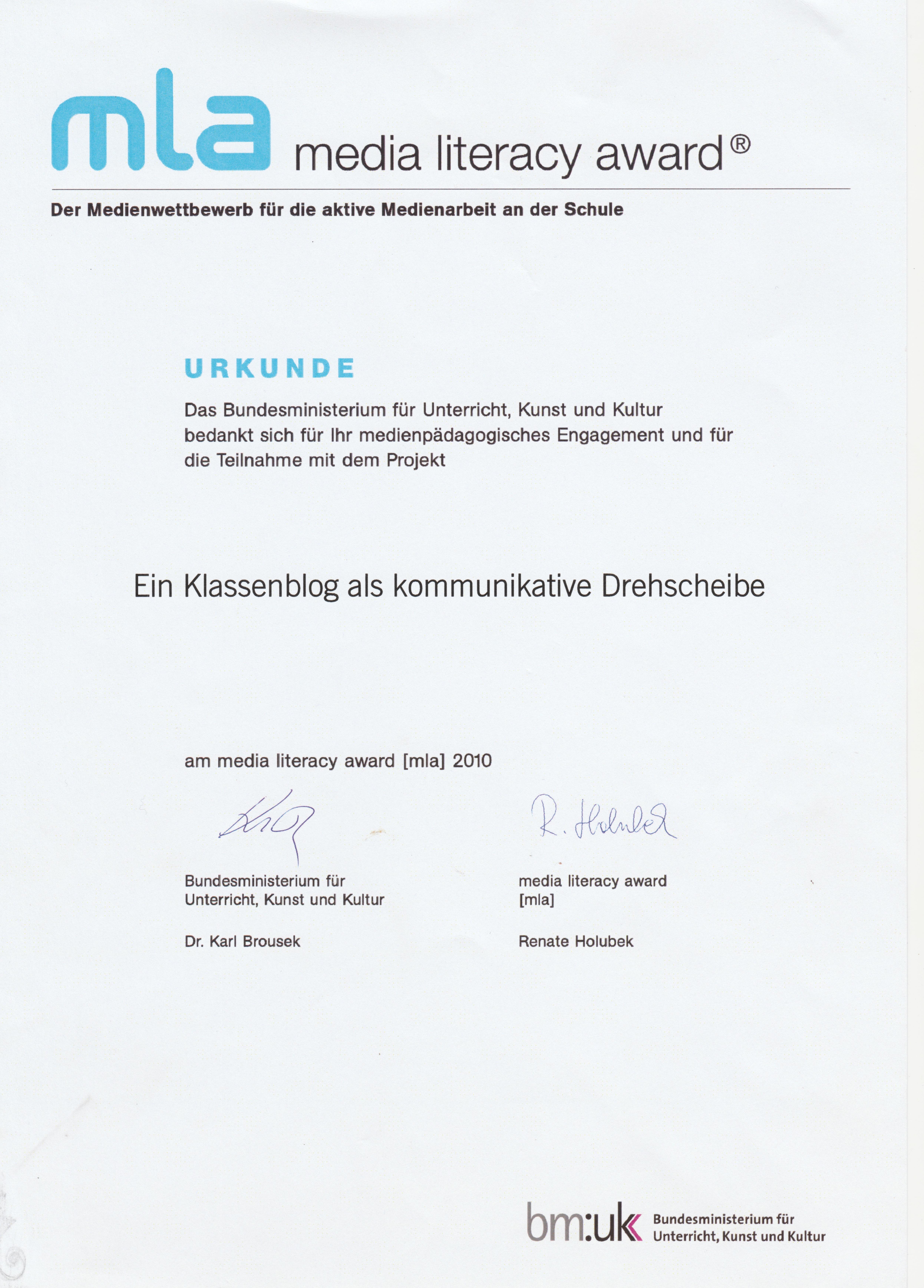 2010_Media Literacy Award