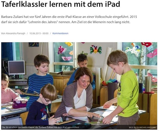 """2015_Salzburger Nachrichten: """"Tafelkassler lernen mit dem iPad"""